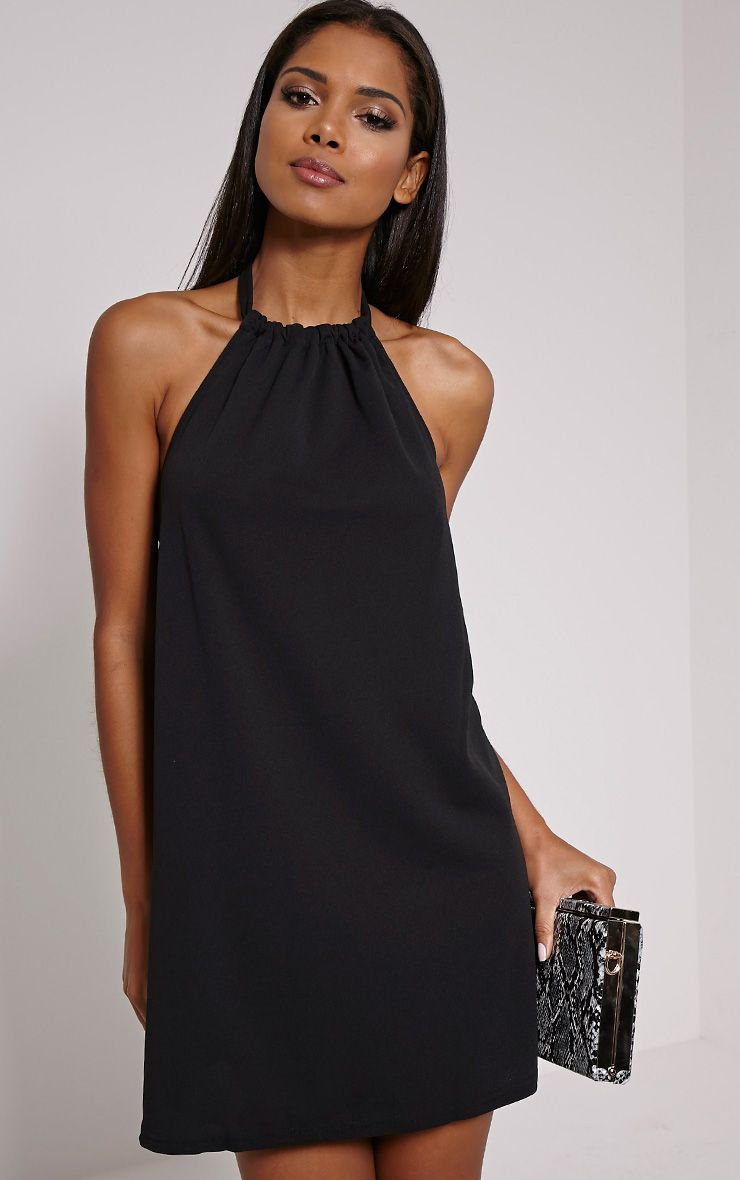 Eshe Black Halterneck Swing Dress