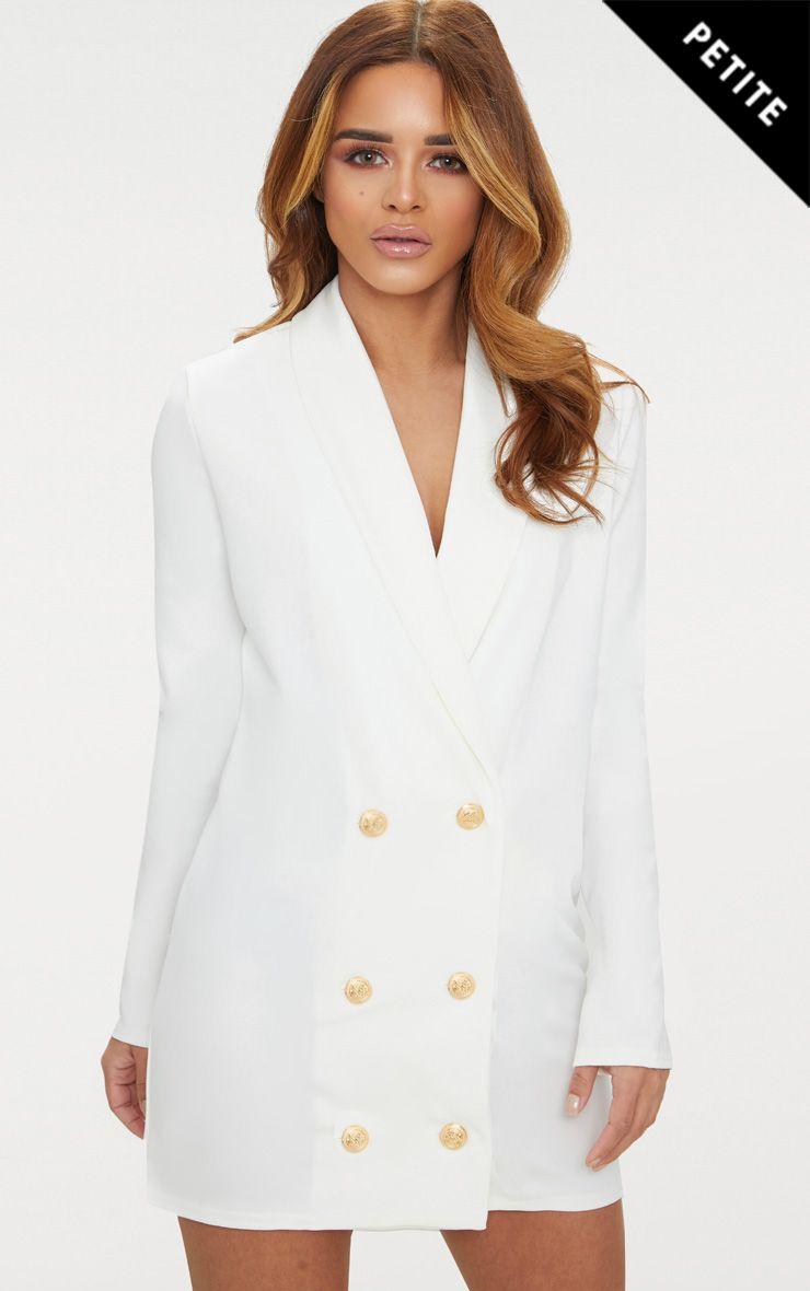 Petite White Gold Button Blazer Dress