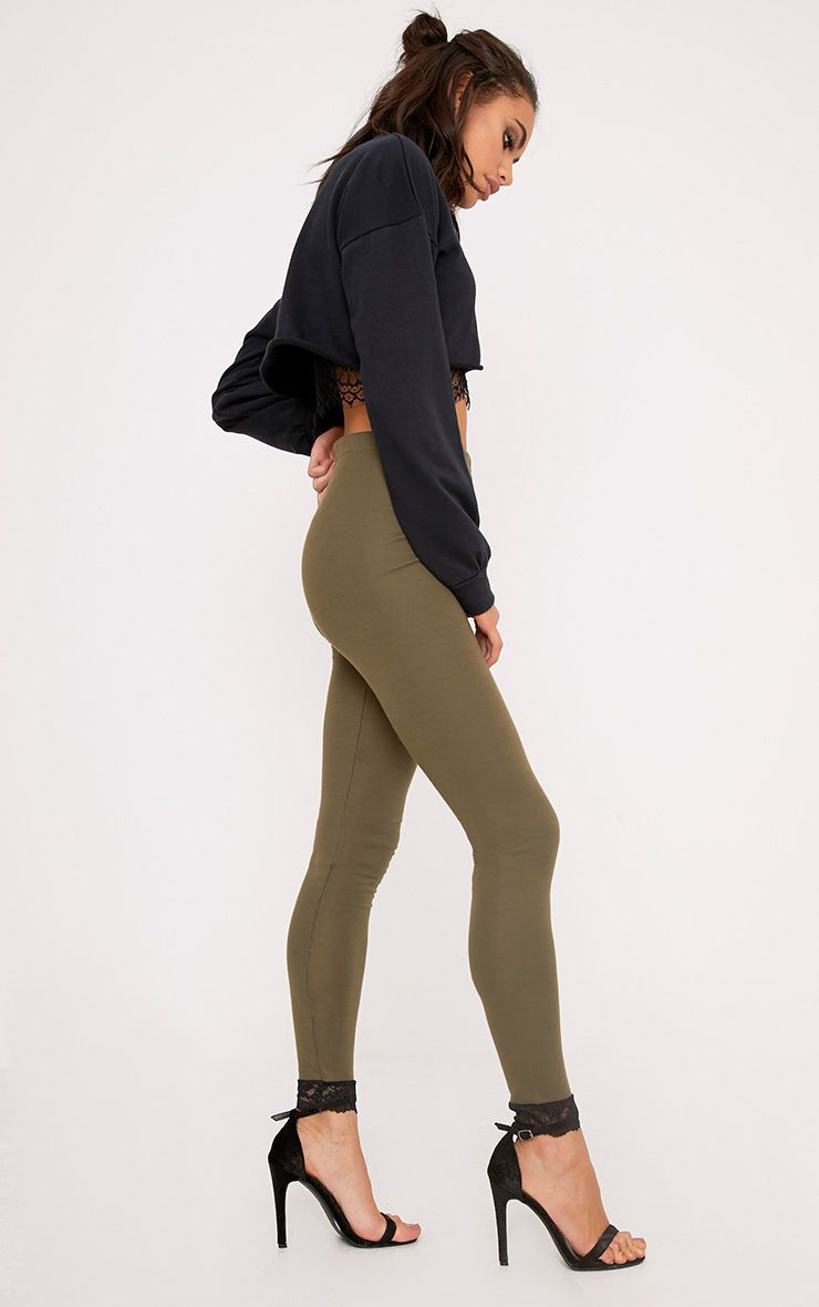 Kamara Khaki Lace Trim Leggings