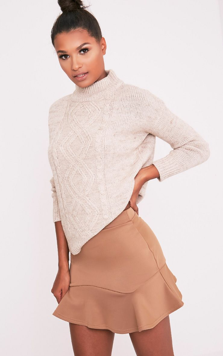 Verity Camel Flippy Hem Mini Skirt