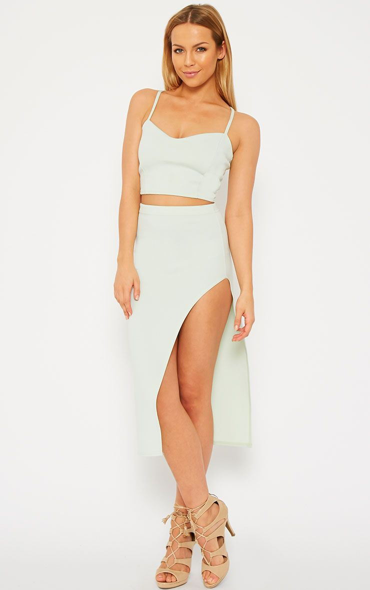 Savina Mint Side Split Midi Skirt 1