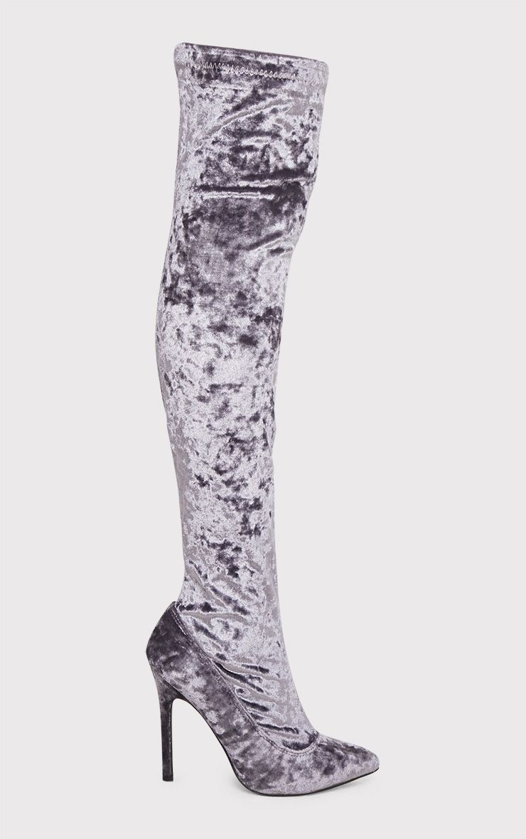 Christelle Grey Crushed Velvet Thigh High Heeled Boots