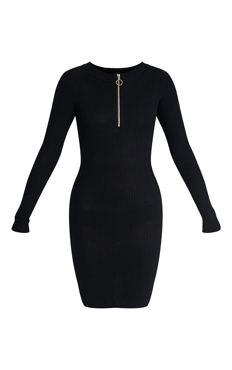 Maegan robe mini noire côtelée à fermeture sur le devant 3