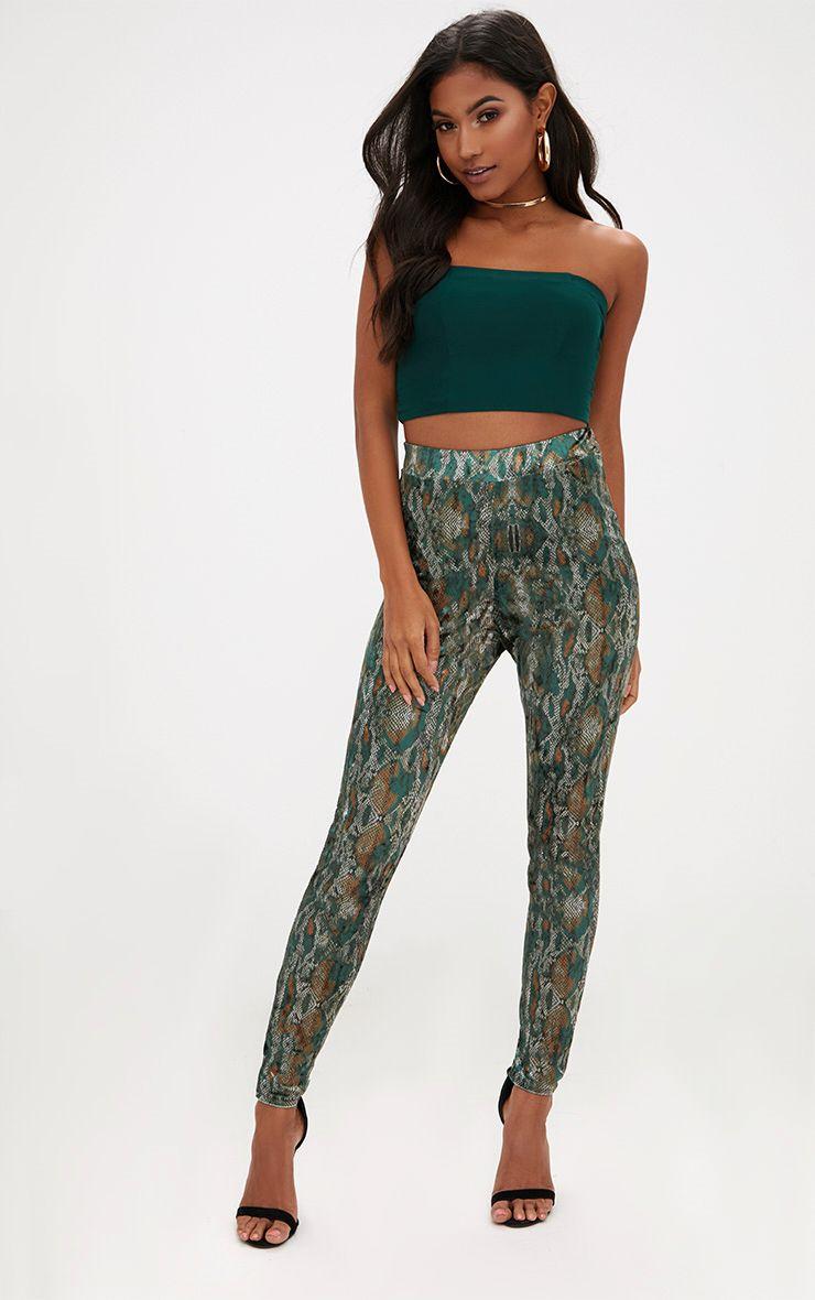 Green Velvet Snake Print Skinny Trousers
