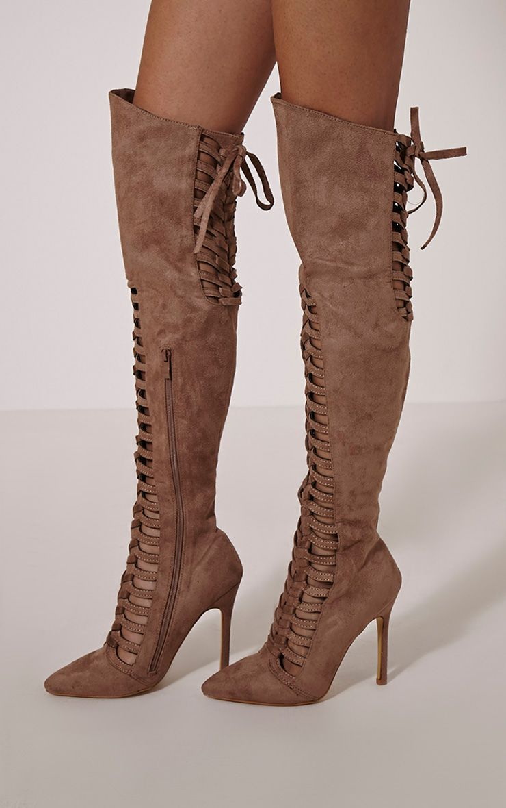 Freeyah Tan Cut Out Knee High Pointed Boots 1