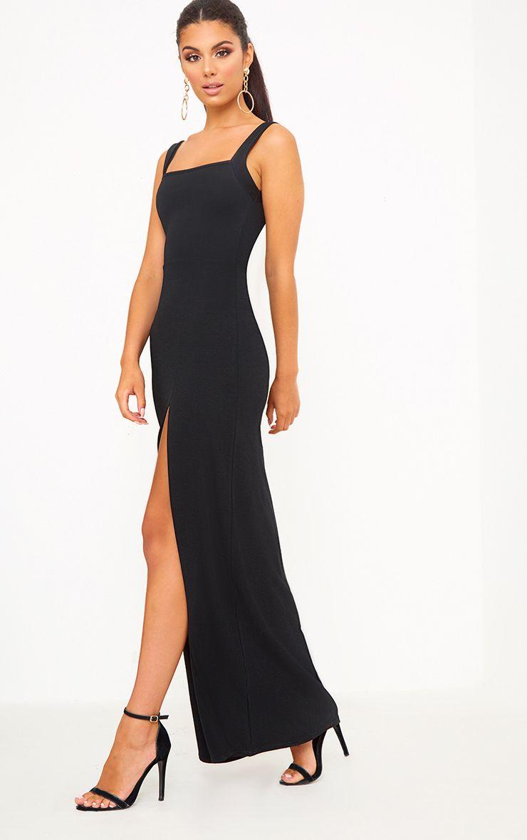 Black Straight Neck Maxi Dress Dresses