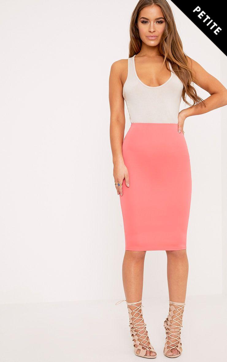 Petite Winnie Coral Scuba Midi Skirt