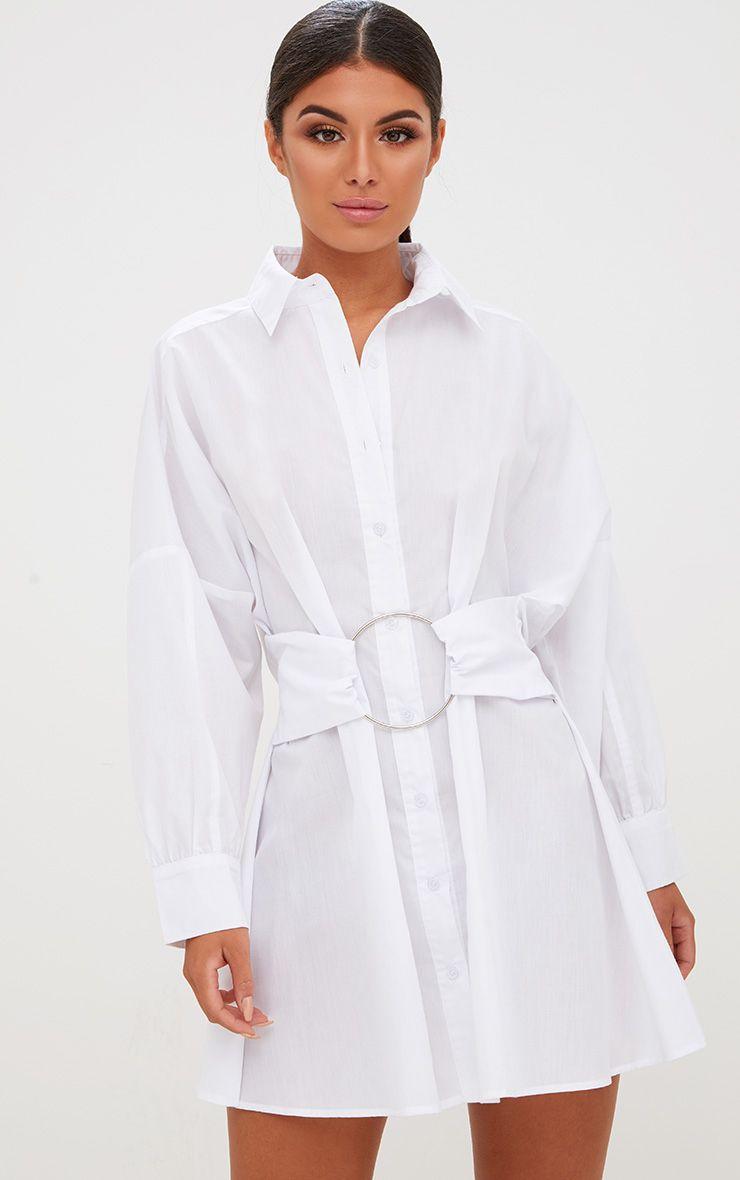 White Ring Waist Detail Shirt Dress