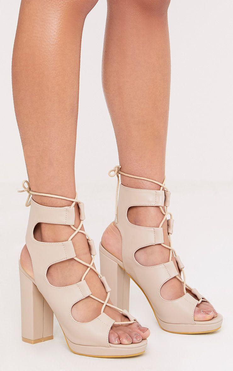 Carlia Nude Platform Gladiator Heels