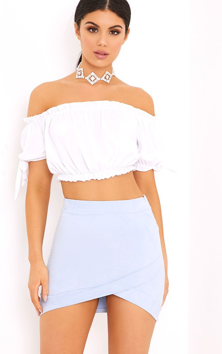 Gabriella Baby Blue Faux Suede Mini Skirt