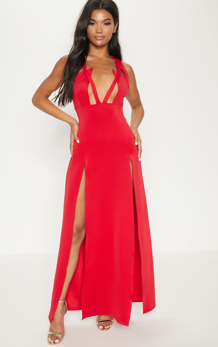 Red Pointy Bust Detail Extreme Split Maxi Dress