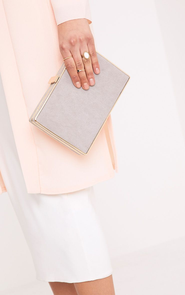 Justina Grey Suede Box Clutch