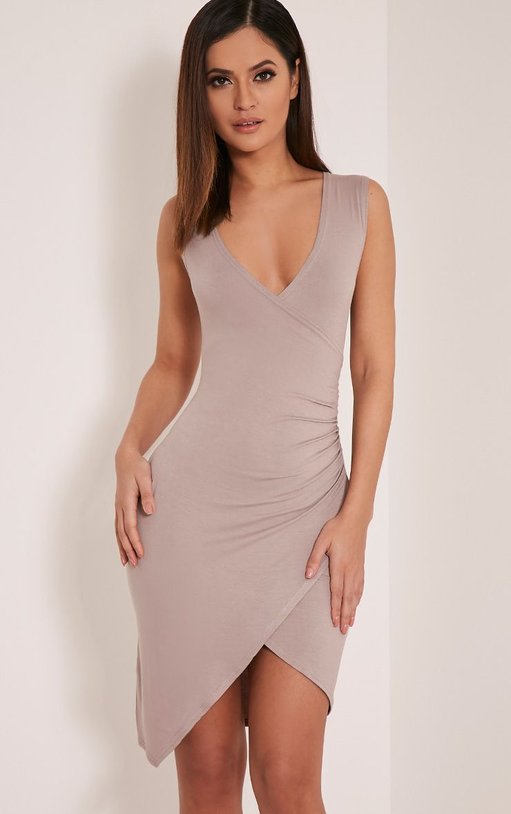 Kendi Taupe Sleeveless Wrap Mini Dress 1