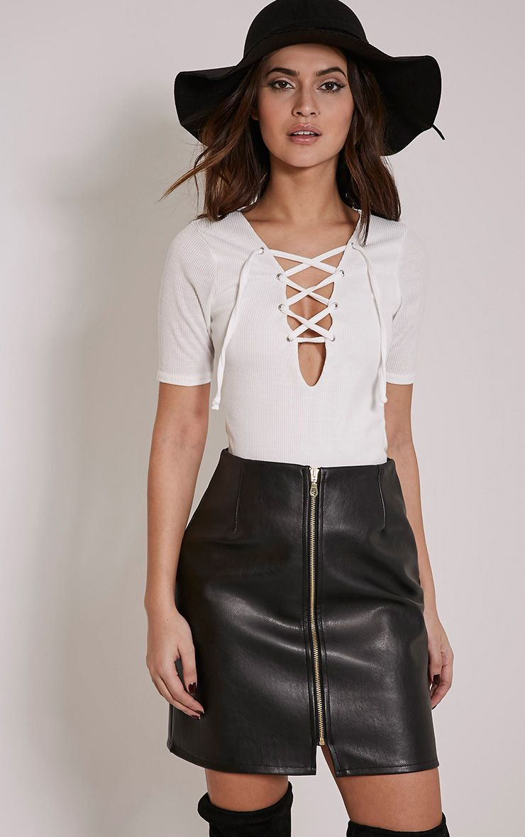 Beatrice Cream Lace Up Short Sleeve Top 1