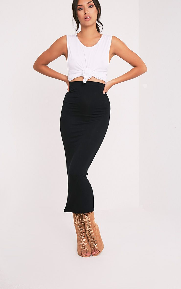 Basic Black Midaxi Skirt 1