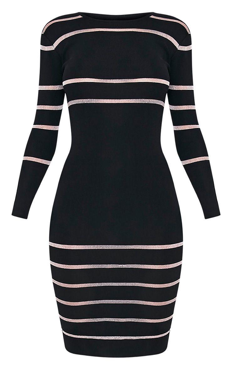 Serene Black Mesh Panel Knitted Midi Dress 3