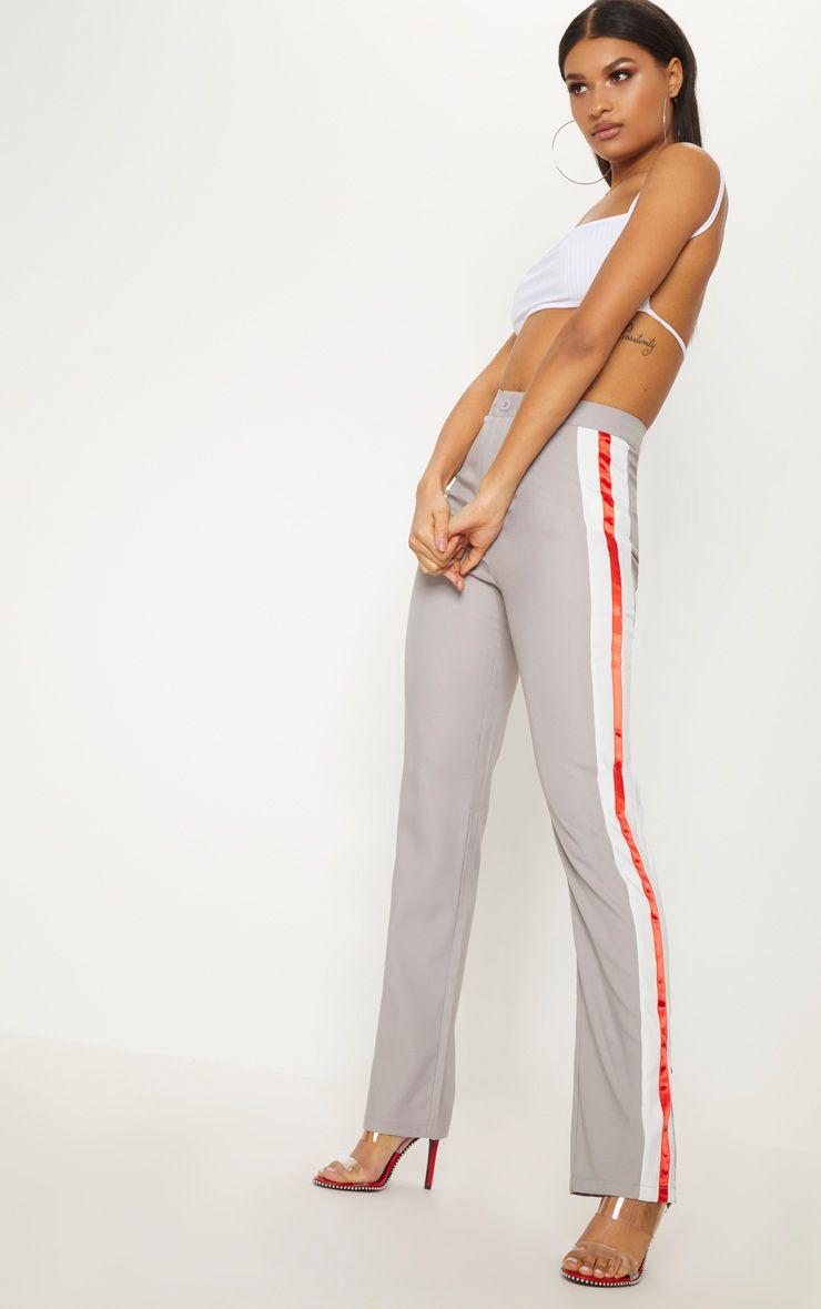 Grey Tailored Side Stripe Straight Leg Trouser