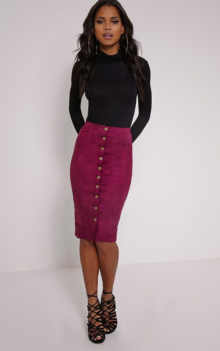 Meemee Purple Button Front Suede Midi Skirt 1