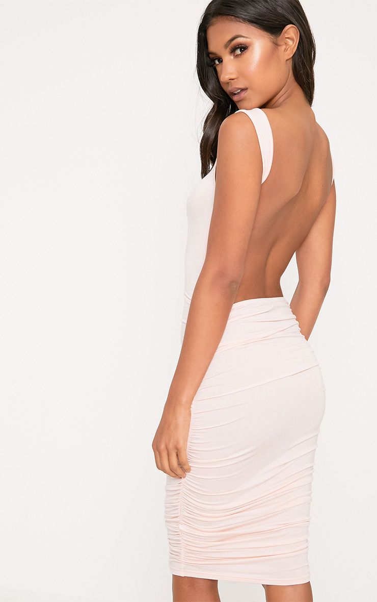 Nude Open Back Ruched Midi Dress