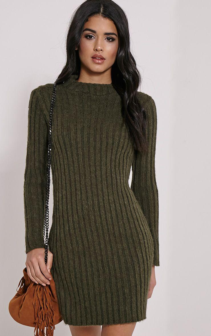 Kirby Khaki Marl Long Sleeve Knitted Dress 1