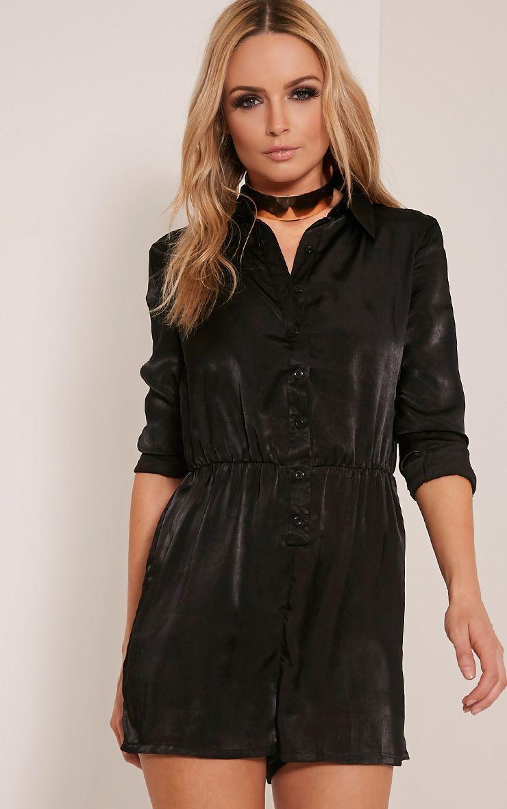 Pina Black Silk Feel Shirt Playsuit