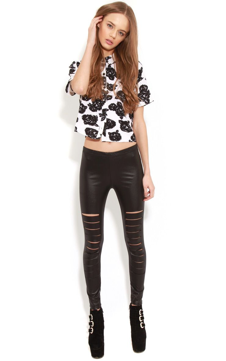 Lily Black Leather Slash Leggings 1