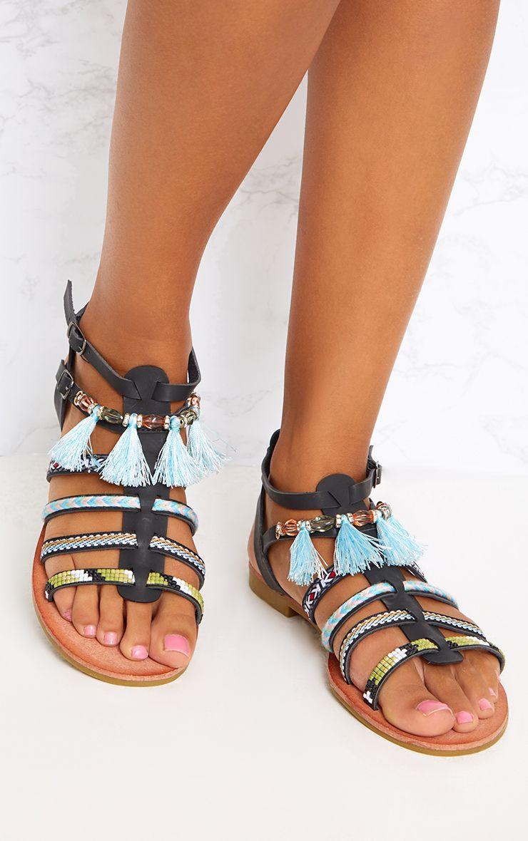 Black Embellished Gladiator Sandals