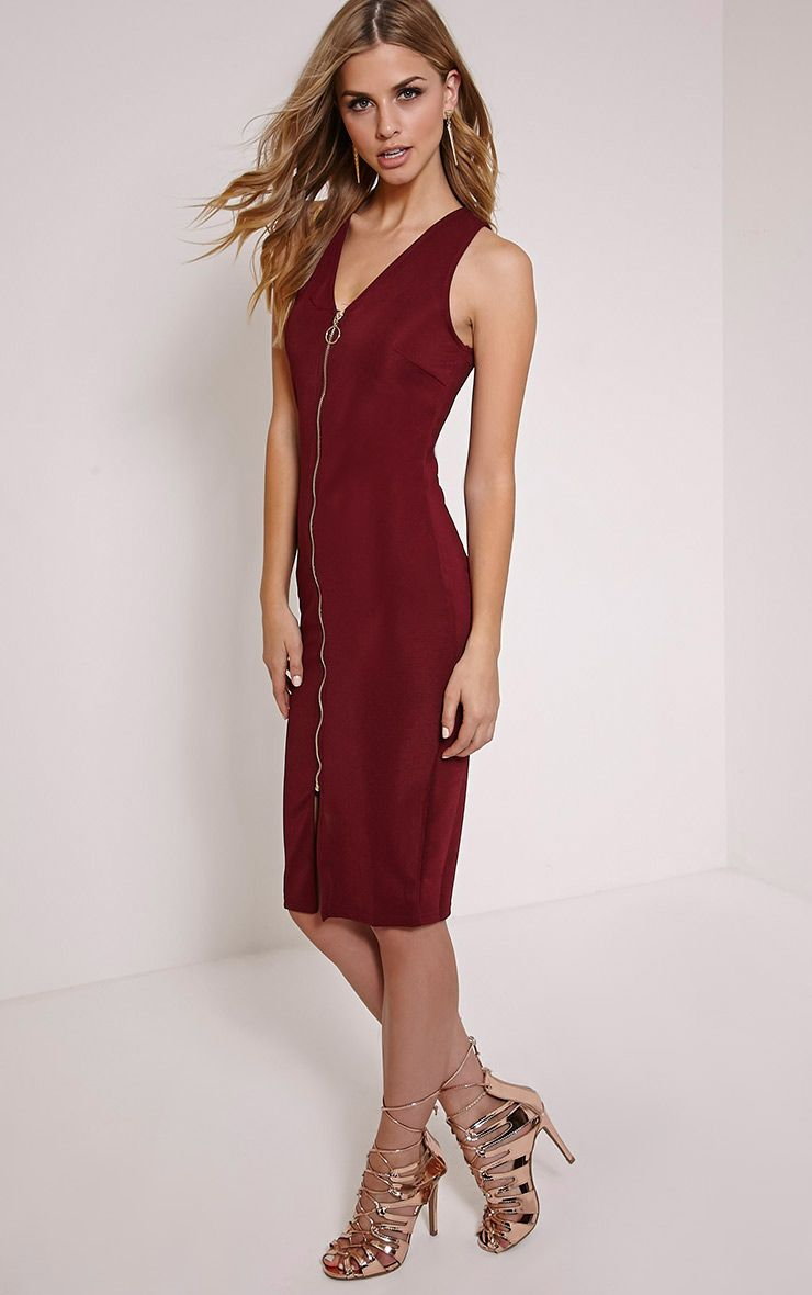 Edie Wine Zip Front Midi Dress 1