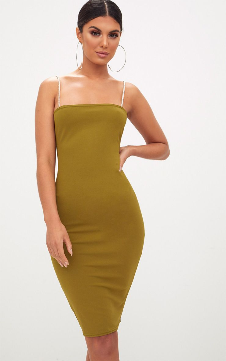 Olive Green Diamante Strap Straight Neck Midi Dress