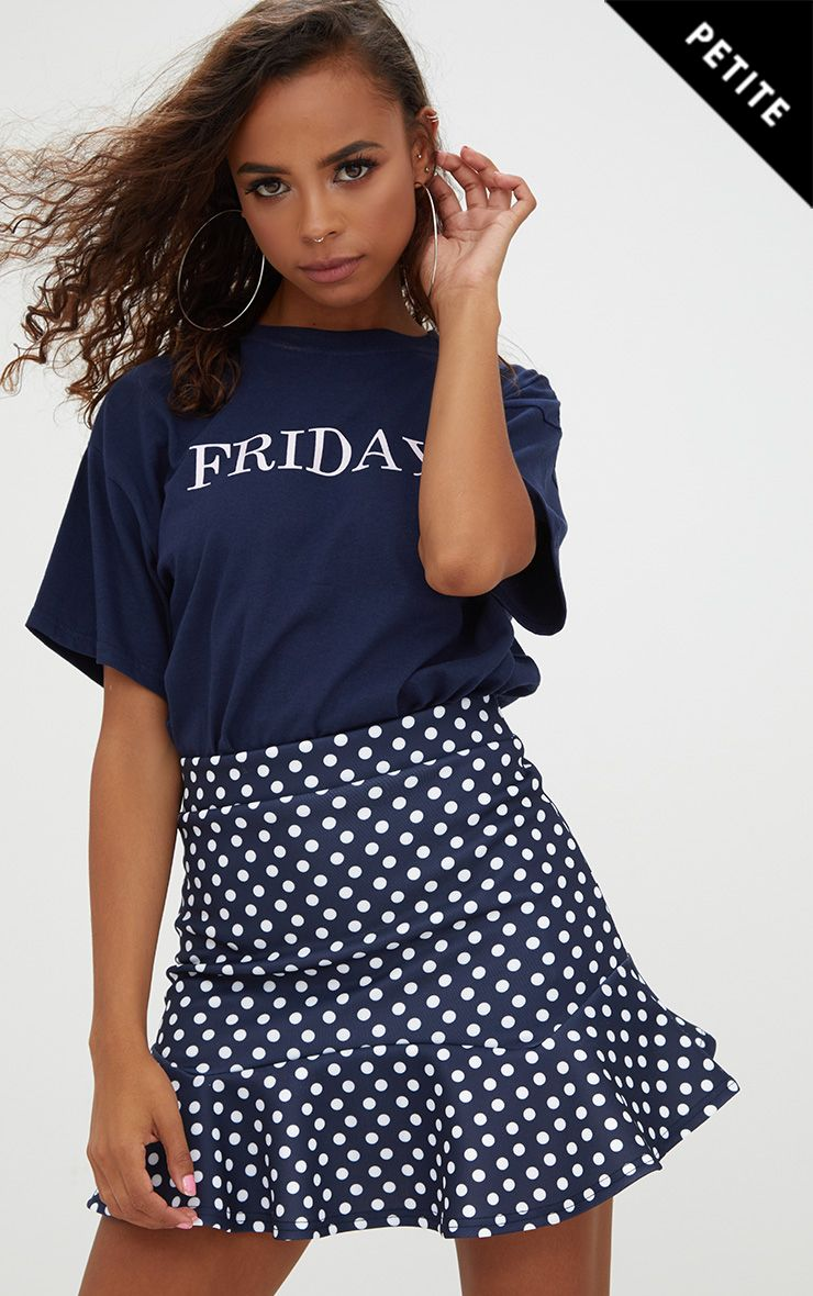Petite Navy Polka Dot Flippy Hem Skirt