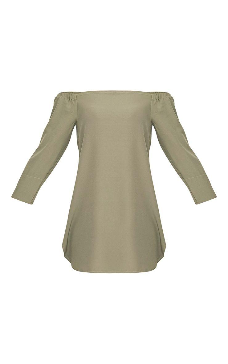 Kandle robe trapèze bardot vert sauge à ourlet arrondi 4