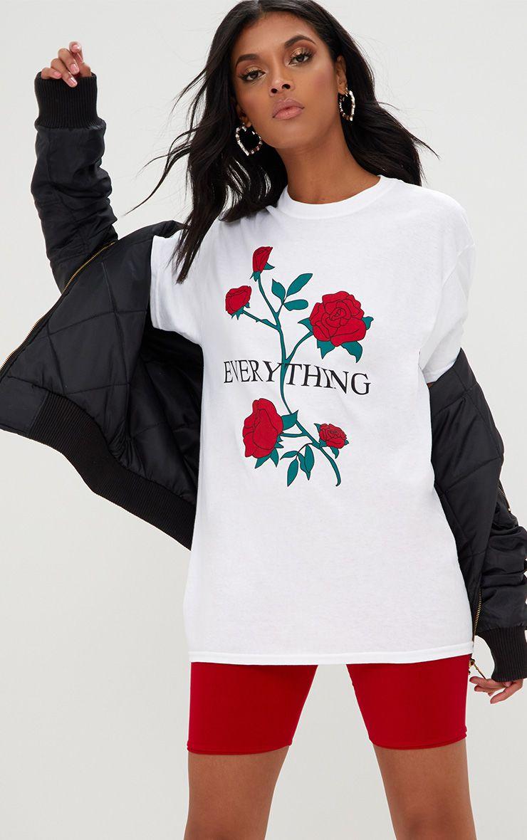 White EVERYTHING Slogan Roses T Shirt