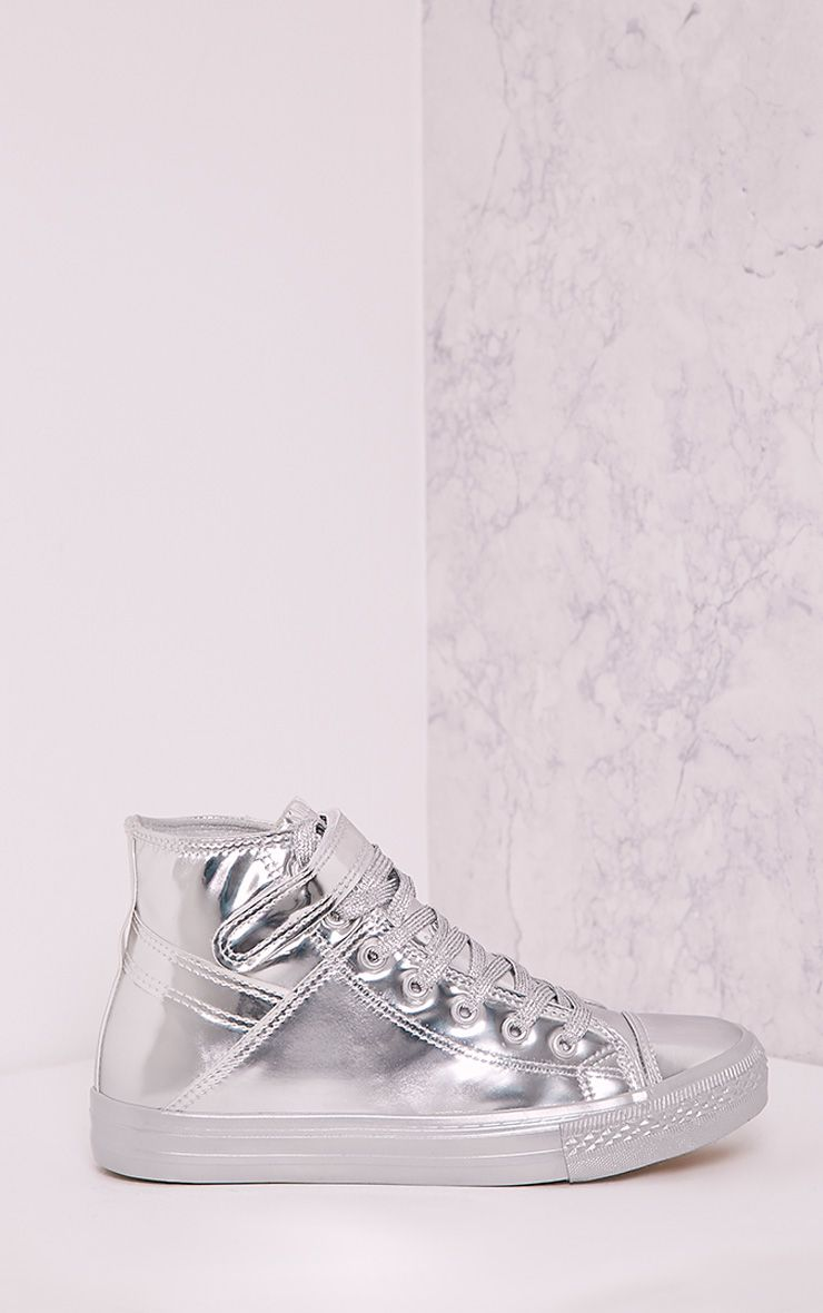 Oona Silver Metallic High Top Sneakers