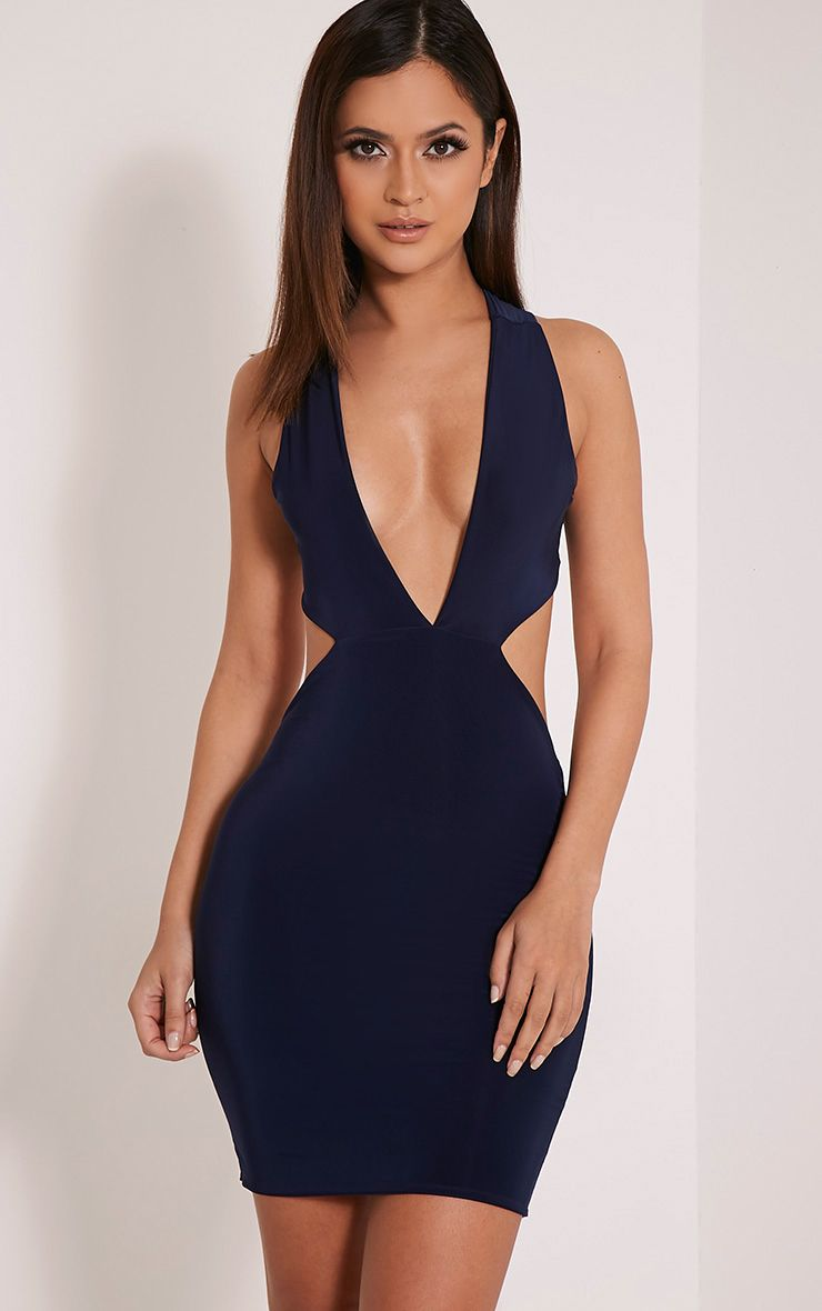 Biddy Navy Deep V Plunge Bodycon Dress 1