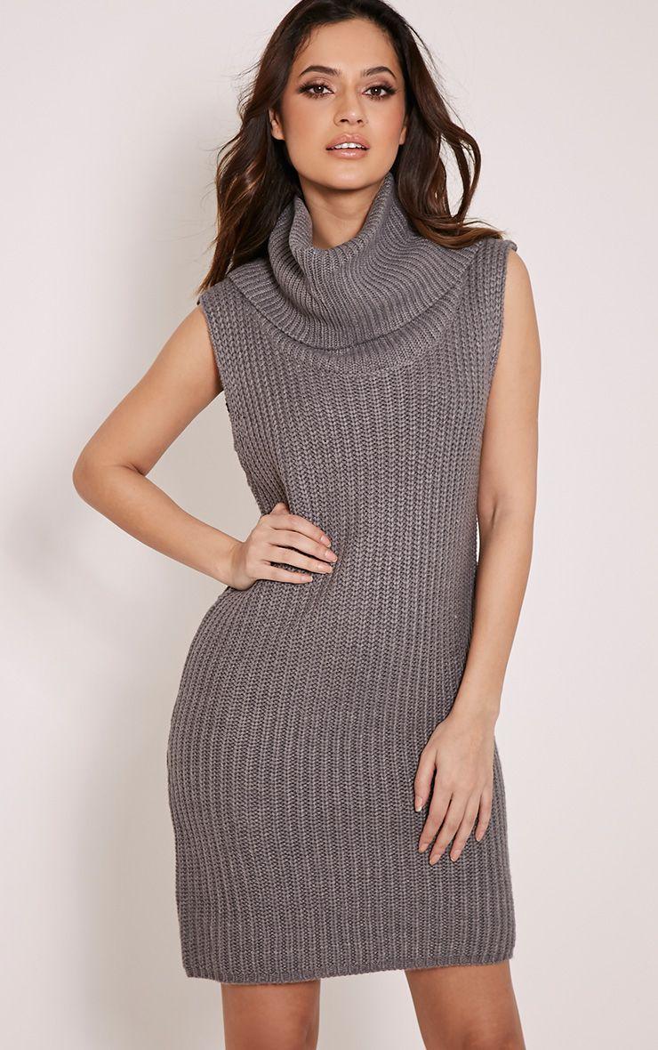 Kadence Grey Roll Neck Jumper Dress 1