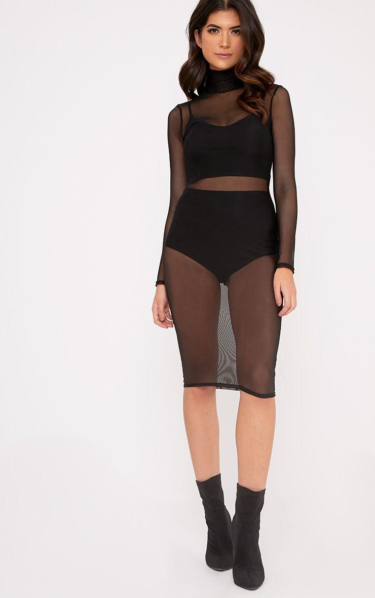 Ayda High Neck Mesh Midi Dress