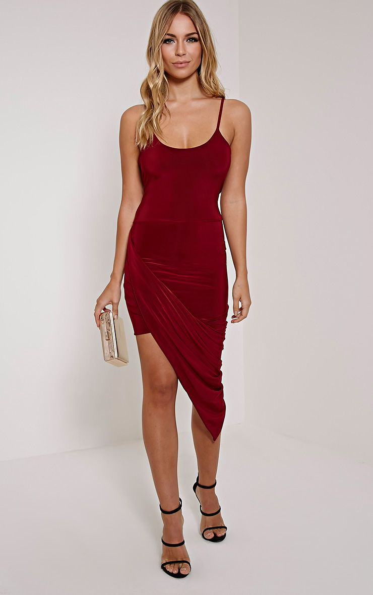 Prim Burgundy Strappy Drape Asymmetric Dress 1