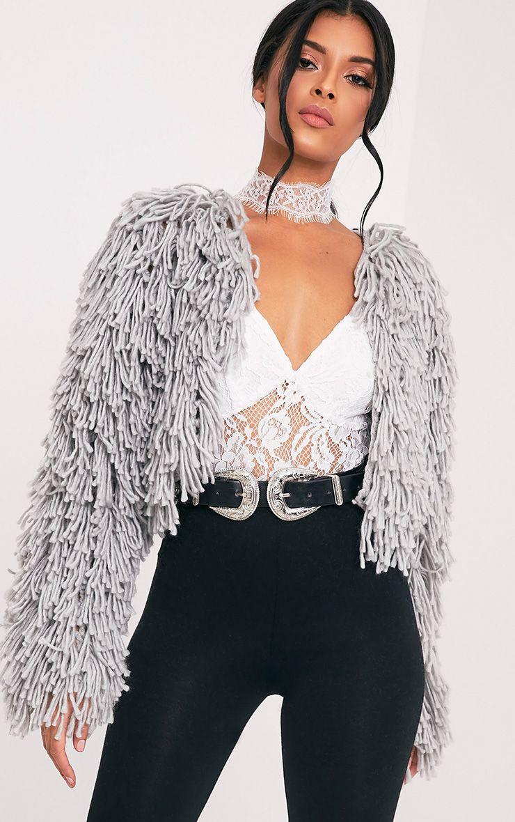 Shainina Grey Shaggy Knit Cropped Cardigan