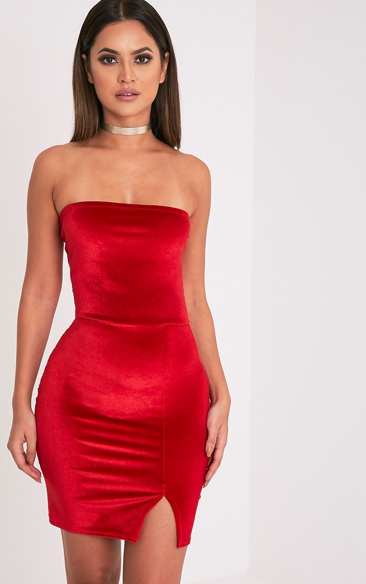 Layala Red Velvet Split Detail Bandeau Dress 1