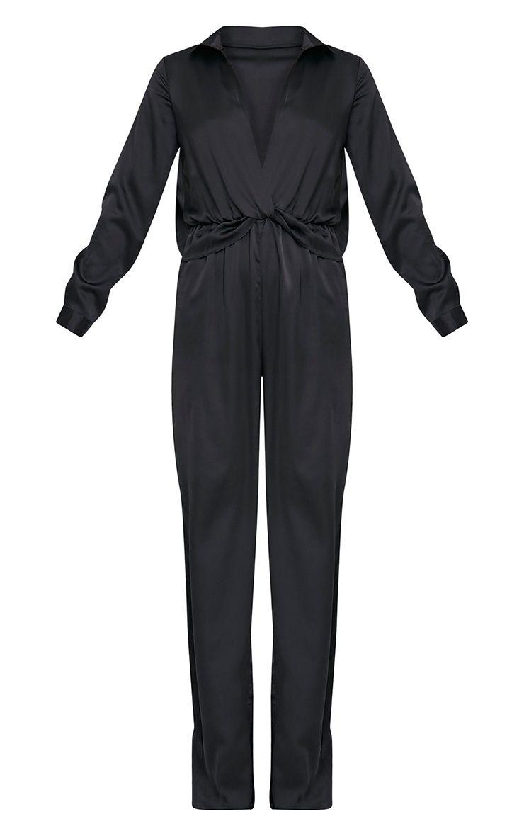 Valerie Black Long Sleeve Wide Leg Plunge Jumpsuit 3
