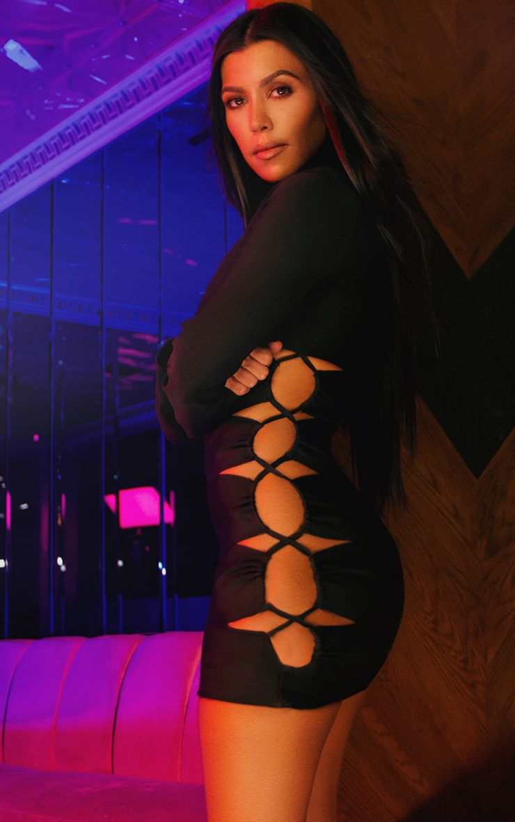 Black Bandage Lace Up High Neck Bodycon Dress