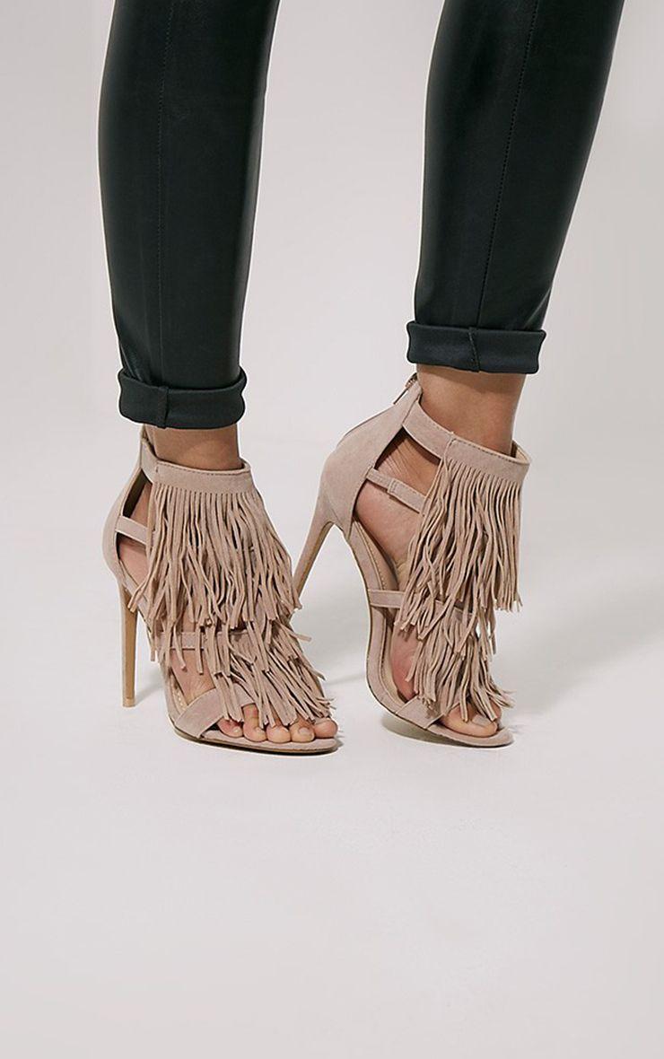 Taysa Nude Tassel Heeled Sandals 1