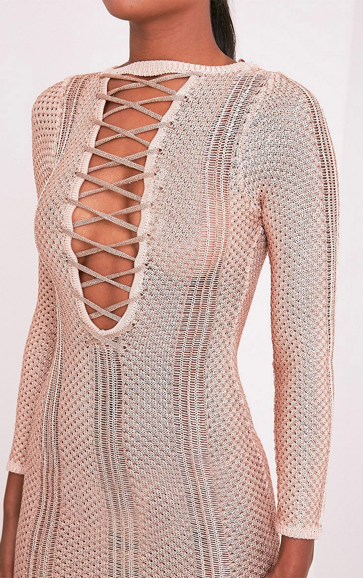 Venita Rose Gold Metallic Knit Lace Up Mini Dress 6
