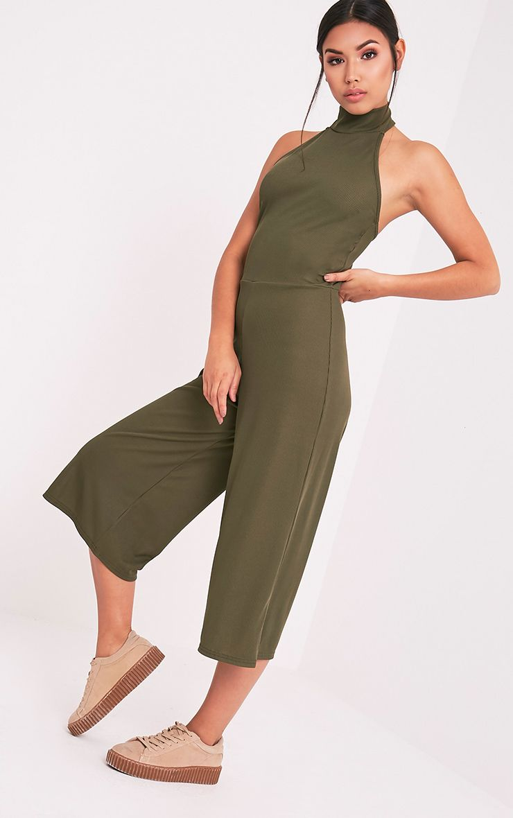 Marcie Khaki High Neck Low Back Culotte Jumpsuit 1