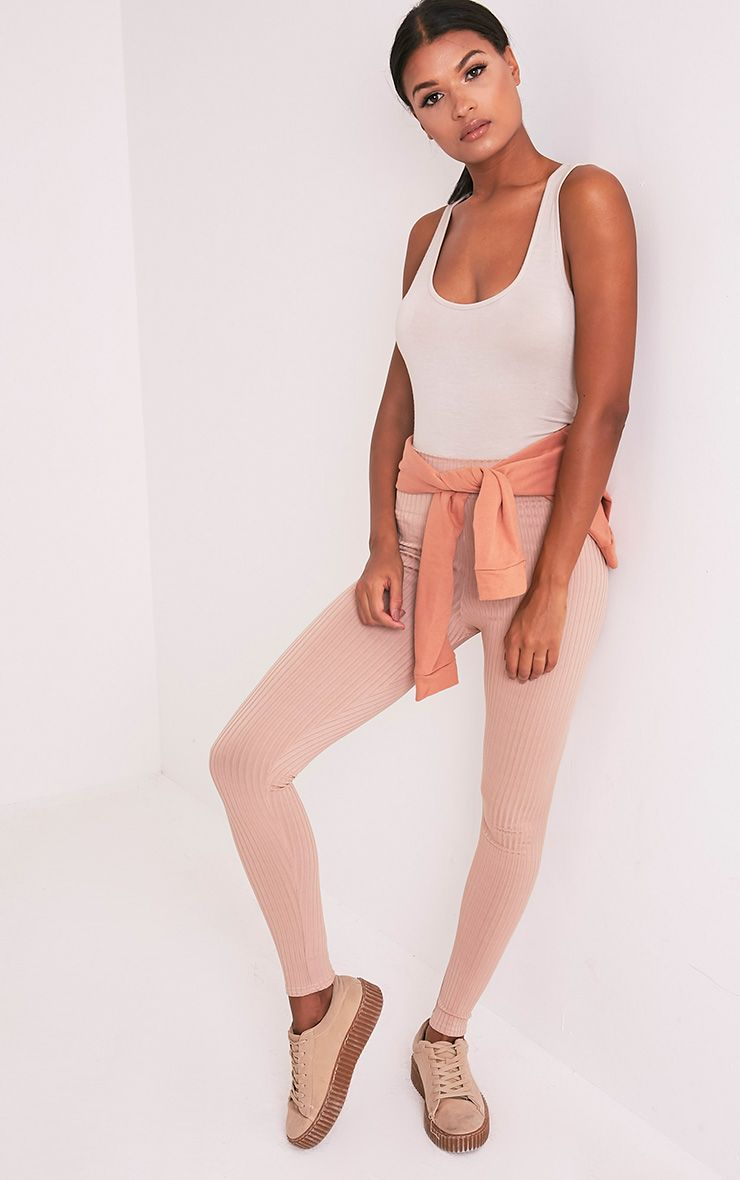 Harlie Taupe Ribbed High Waisted Leggings 1