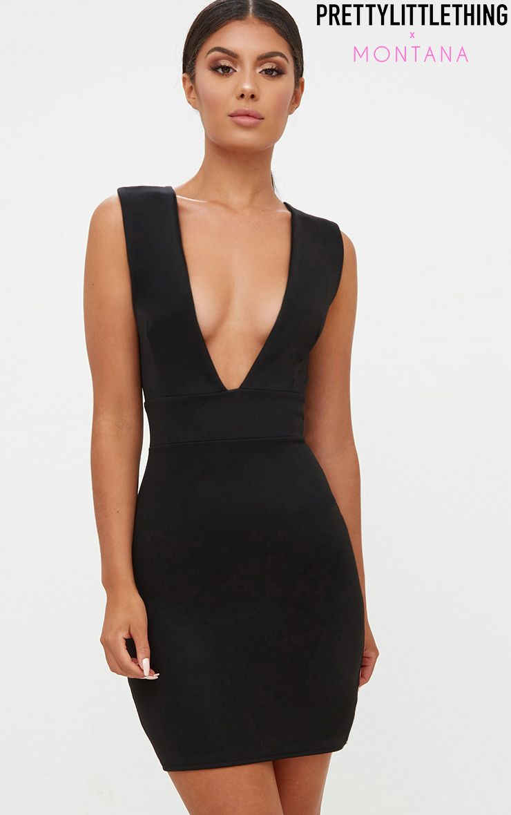 Black Extreme Plunge Sleeveless Bodycon Dress