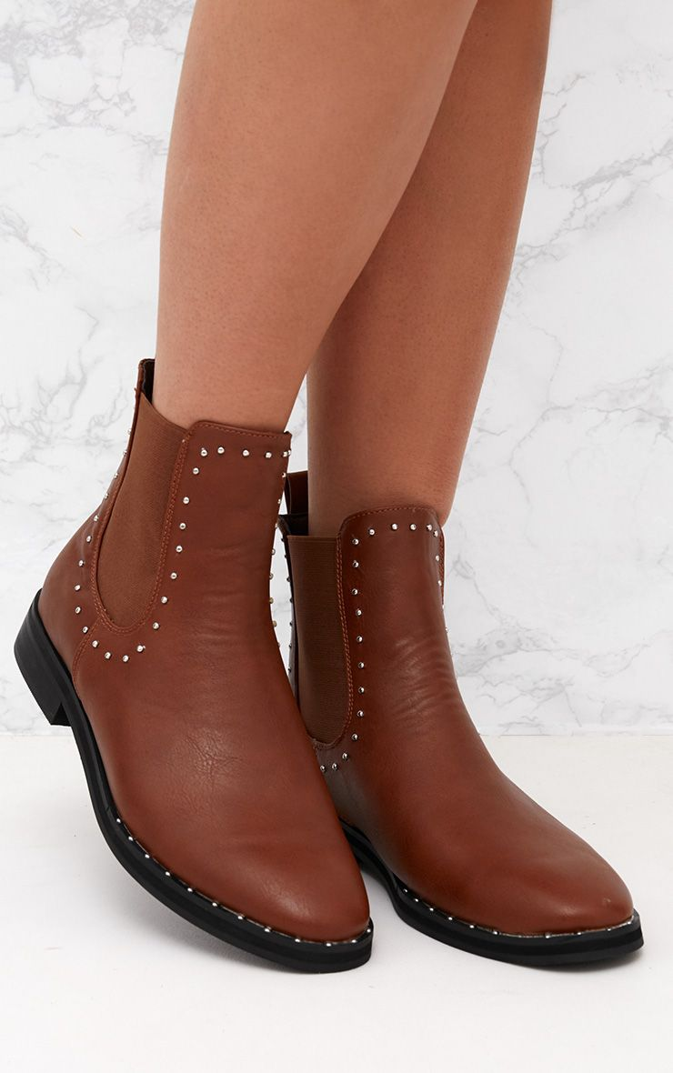 Tan PU Studded Chelsea Boot