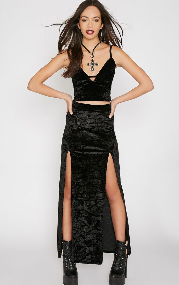 Ursa Black Velvet Double Slit Maxi Skirt 1