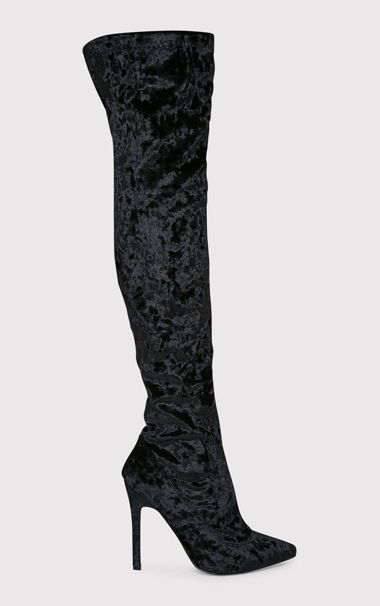 Christelle Black Crushed Velvet Thigh High Heeled Boots