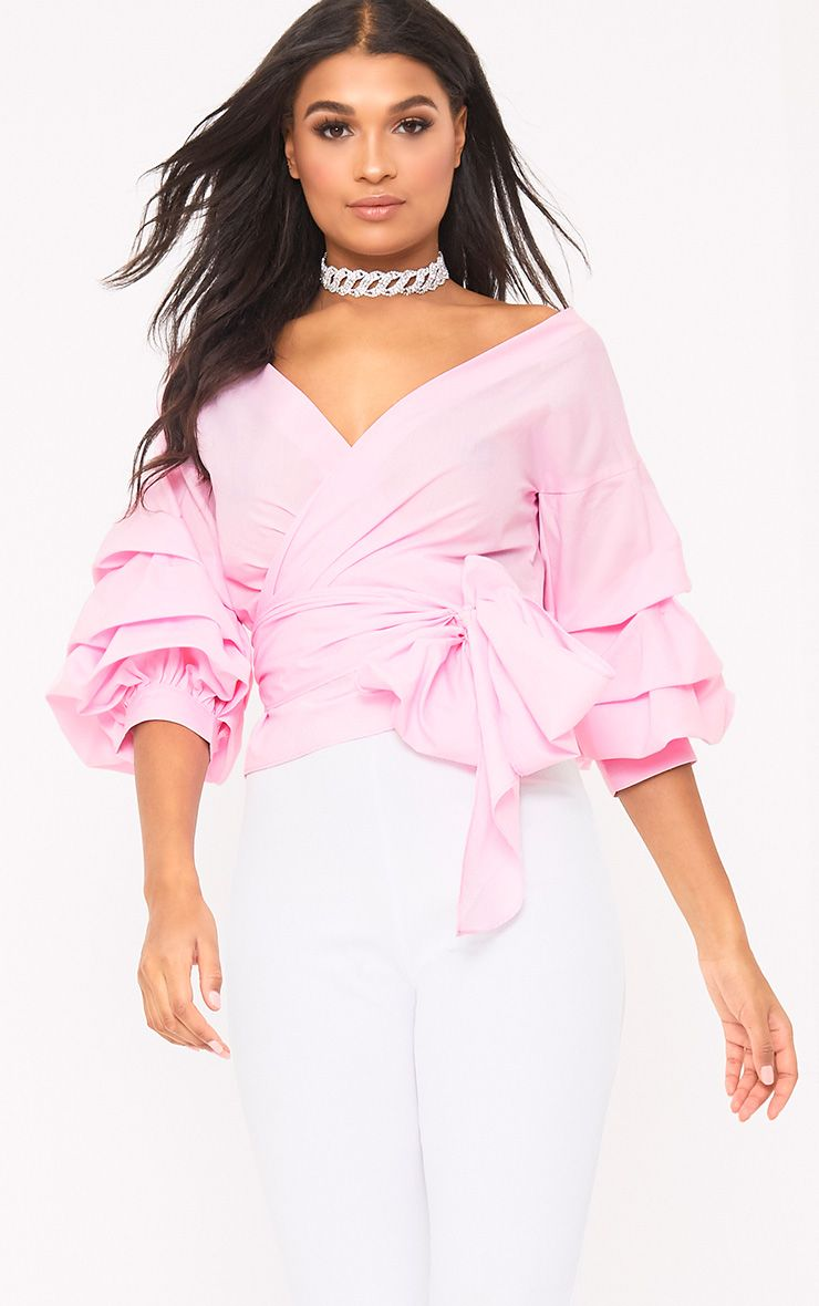 Marlow Baby Pink Oversized Ruffle Sleeve Low Shoulder Shirt